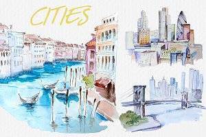 Watercolor Cities Clipart Set