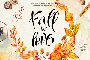 Fall in Love - Watercolor clipart