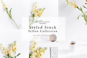 Styled Stock   Yellow Desk & Flower