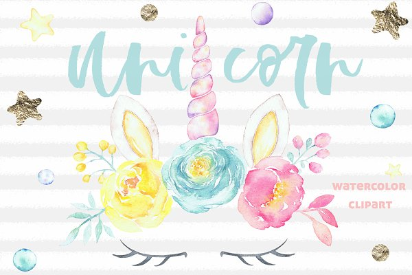 Watercolor Unicorn floral clipart