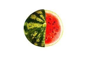 watermelon with cut a piece of  isol