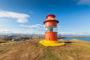 Red Lighthouse above Stykkisholmur,