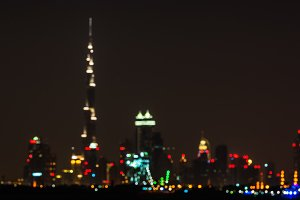 Blurred Night cityscape of Dubai cit