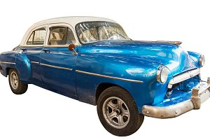 Blue, old and american car