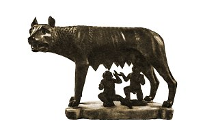 Roman She Wolf Sculpture Isolated