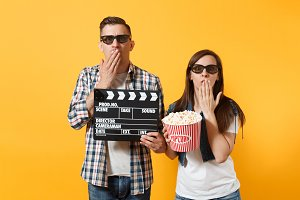 Young couple woman man in 3d glasses