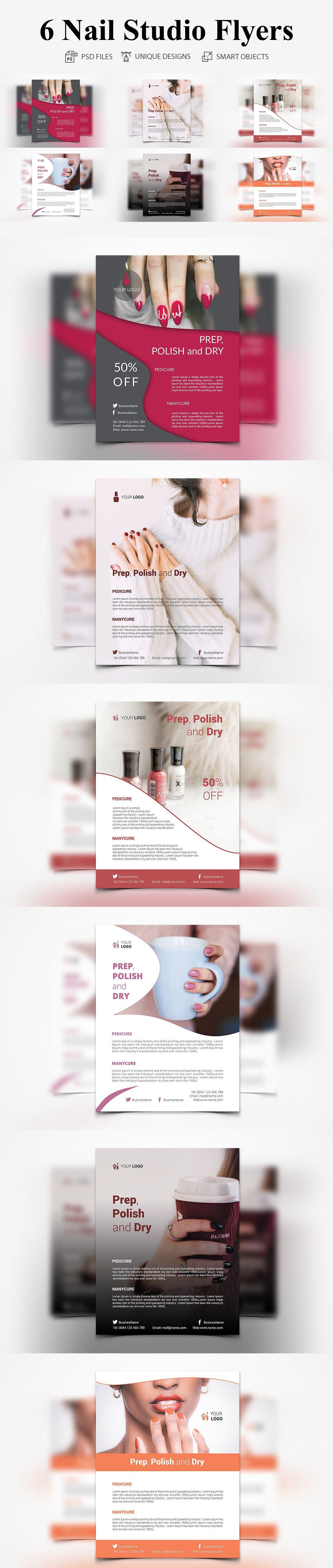 6 nail studio flyer flyer templates creative market