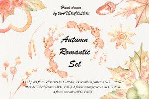 Autumn romantic watercolor set