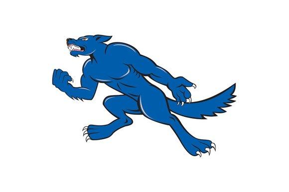 Wolf Dog Clenching Fist Cartoon