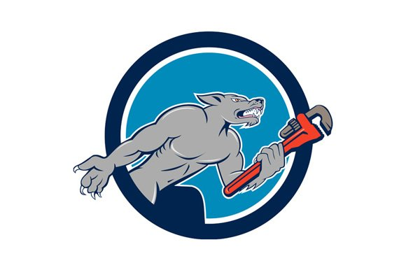 Wolf Plumber Monkey Wrench Circle Ca