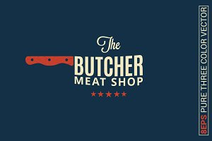Butcher meat shop logo on blue