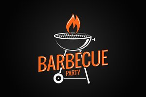 Barbecue grill logo. BBQ with flame