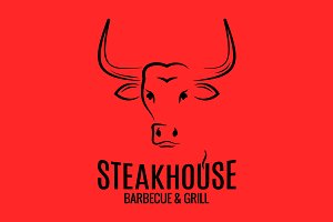 Bull head logo of steakhouse.