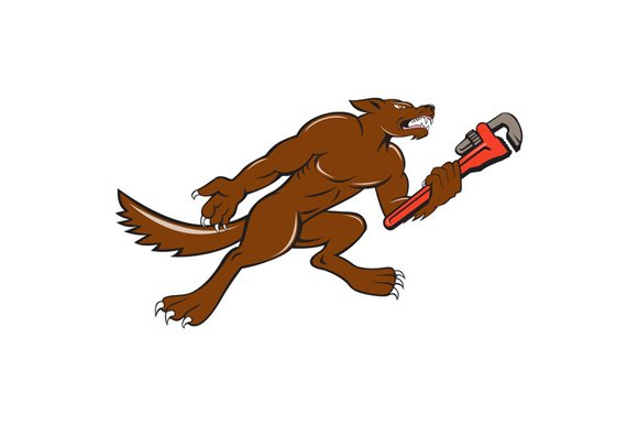 Wolf Plumber Monkey Wrench Isolated in Illustrations