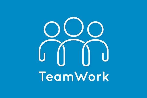 Teamwork icon line business concept…