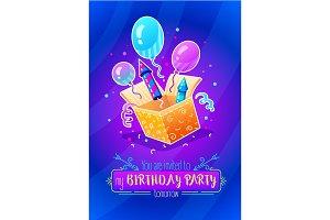 Birthday party. Gift box