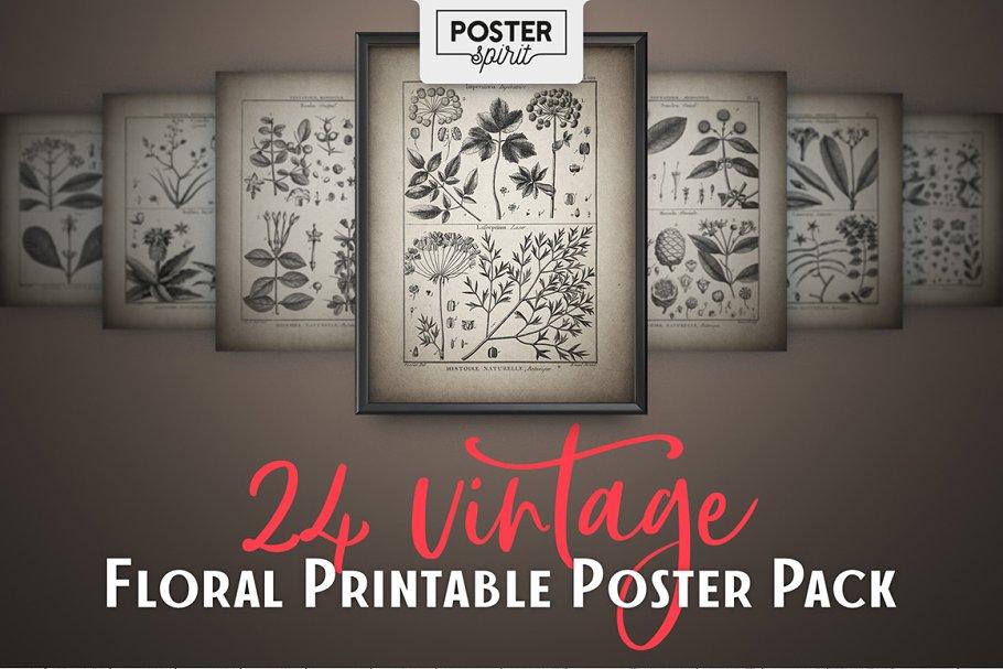 24 Vintage Floral Botanical Posters