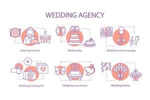 Wedding agency concept icons set