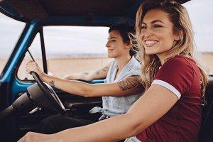 Women friends going on a road trip