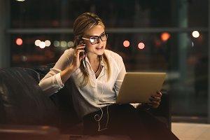 Businesswoman doing video call