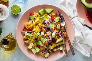 banner of grilled corn , avocado sal