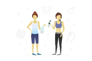 Two women after sports training