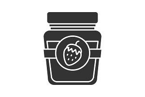 Strawberry jam jar glyph icon