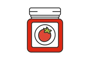 Tomato sauce jar color icon