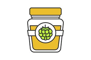 Raspberry or blackberry jam jar icon