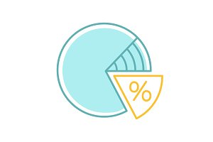 Percentage pie chart color icon