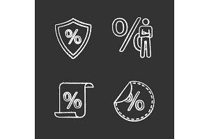 Percents chalk icons set