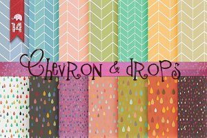 ✿ 14 Chevron & Drops patterns ✿