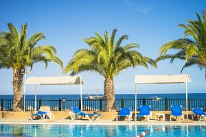 Tropical hotel beach pool palms and