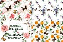 Seamless pattern of butterflies.