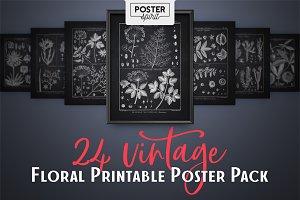 24 Black Vintage Botanical Posters