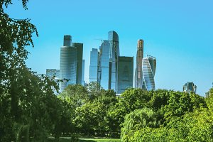 View of Moscow City through the park