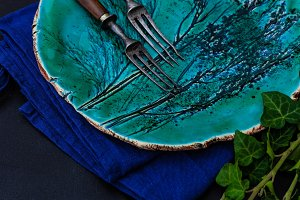 Rustic table setting dark mood