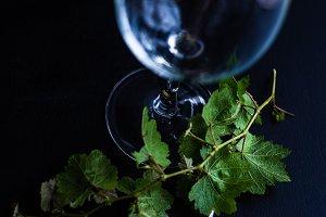 Dark table setting with grape vine