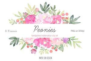 Peonies Frames Clip Art
