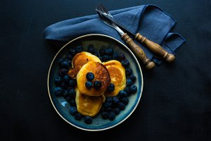 Breakfast pancakes with blueberry