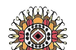 Colorful Ethnic Symbol Drawing