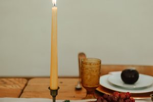 Candle on A Fall Table