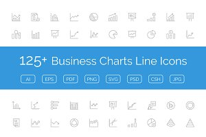 125+ Business Charts Line Icons
