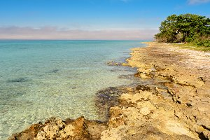 Rocky coast at playa Larga in Cuba