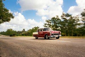 Old american classical car in highwa