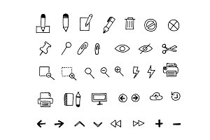 Business icons in sketch style.