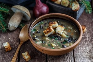 Mushroom soup in ceramic bowl with a