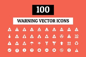 100 Warning Vector Icons