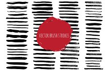 Vector set of brush ink strokes.