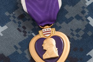 Purple Heart War Medal on Navy Camou